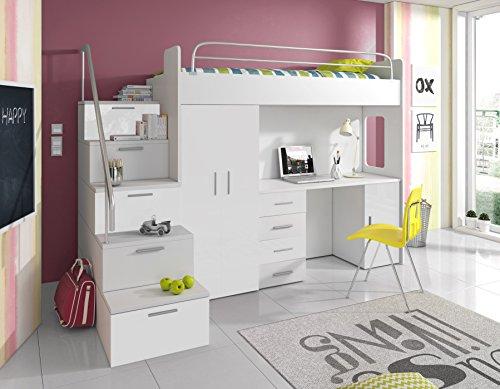Furnistad Kinderzimmer Komplett Sky | Kinder Hochbett Mit Treppe,  Schreibtisch Und Schrank (Option Links, Weiß)