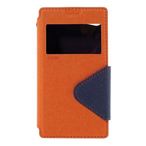 | Handyschutz in Perfektion | Ultra Slim Premium Flip Cover Leder Tasche Schutz Hülle mit Silikon Innen Schale Original Roar Fancy Case Für Sony Xperia Z5 Compact Lila Orange