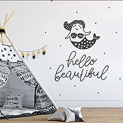 Idea Regalo - tzxdbh Camera dei Bambini Arredamento Citazioni Ciao Bella Decor per La Camera da Letto della Neonata Baby Gift Cute Mermaid Vinyl Sticker 42 * 48Cm