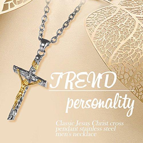 Edelstahl Herren Kreuz Anhänger Jesus Christus Halskette für Männer gold silber , OIDEA vintage Anhänger mit 55cm Königskette Kette - 4