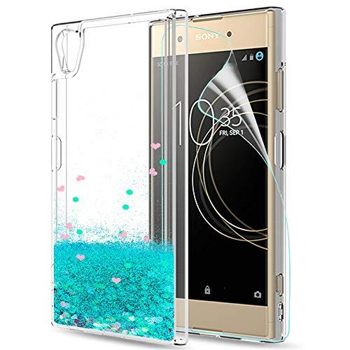 LeYi Hülle Sony Xperia XA1 Plus Glitzer Handyhülle mit HD Folie Schutzfolie,Cover TPU Bumper Silikon Flüssigkeit Treibsand Clear Schutzhülle für Case Sony Xperia XA1 Plus Handy Hüllen ZX Turquoise