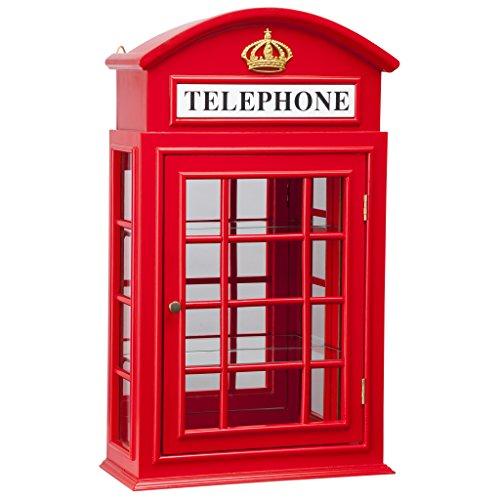Design toscano armadio delle curiosità cabina telefonica inglese piccadilly circus, betulla, rosso, 16.5x39.25x66 cm