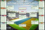 Geschenkideen Fußball - WM Spielplan 2018 Weltmeisterschaft Russland Fussball Poster Plakat Druck - Grösse 91,5x61 cm + 1 Ü-Poster der Grösse 61x91,5cm