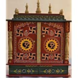 Jodhpur Handicrafts Wood and MDF Om and swastika design Home temple with LED Bulb, Pooja Thali and God Frames (Multicolour)