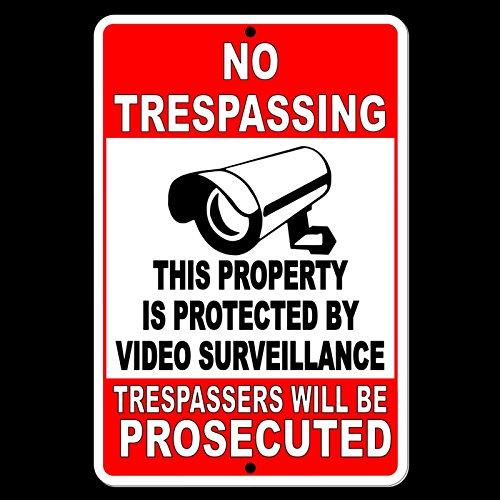 Dozili Property Protected by Video Surveillance Avertissement Caméra de sécurité Métal 12\