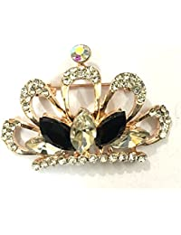 YouBella Jewellery Gracias Collection Crown Shape Unisex Brooch for Men/Women/Girls
