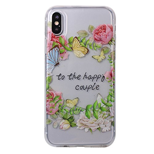 Coque iPhone X,Etui Housse iPhone X Transparente Rosa Schleife iPhone 10 Silicone Souple Housse TPU Gel Clear Case léger Ultraslim Portable Telephone Bumper arriere Coque Protection Protective Cover P 1-a8