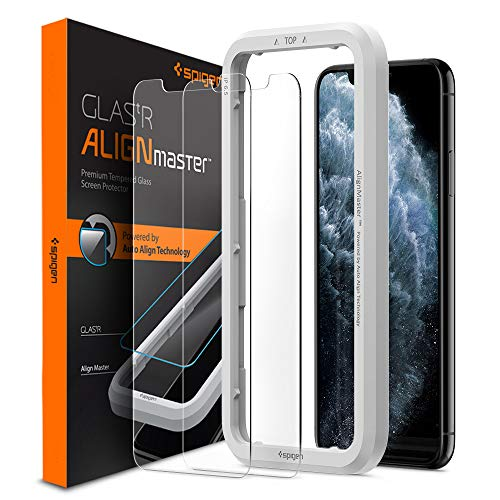 Spigen, 2Pezzi, Vetro Temperato iPhone 11 PRO/XS/X (5.8'), Align Master, Installazione Semplice con Cornice di Allineamento, Pellicola iPhone 11 PRO/XS/X (AGL00109)