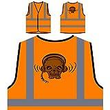 Cranio Diavolo Cuffie Arte Novità Epoca Personalizzato Hi Visibilità Giacca Gilet Arancione di sicurezza pp95vo