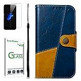 Galaxy S8 Plus Hülle [mit Panzerglas],Penlicraft Flip Cover PU Leder Retro-Stil Distressed Oberfläche für Mann & Frau Handyhülle im Brieftasche-Stil mit [Aktualisierter TPU Innenschale] [Standfunktion] Schutzhülle Handyhüllen [Magnetverschluss] Etui Case für Samsung Galaxy S8 Plus mit Schutzfolie ,(Blau)