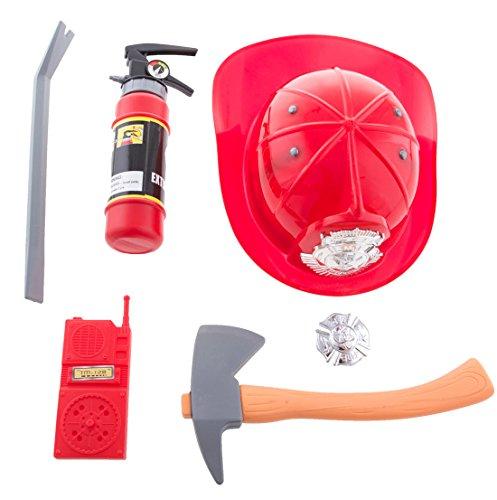 erdbeerclown - Feuerwehr Set - Helm Axt Feuerlöscher Feuerwehrmann Kinderkostüm, Mehrfarbig (Feuerwehrmann Kostüm Geist)