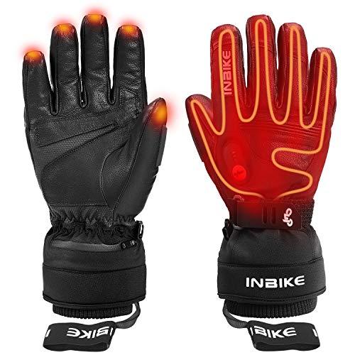INBIKE Guanti Riscaldati da Sci Invernali Antivento e Impermeabile Touchscreen con Batteria Ricaricabile per Moto Snowboard e Ciclismo Sport Invernali (L)