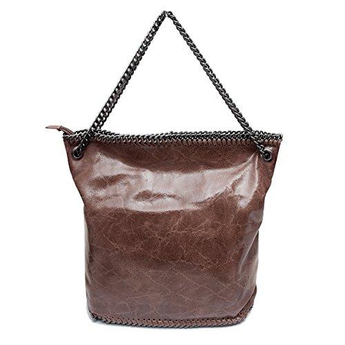 Sacchetto ,Shopper,borse a spalla,catene (38/ 35/ 15 cm),in pelle Mod. 2067 by Fashion-Formel marrone