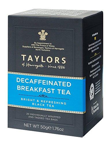 Taylors of Harrogate entkoffeinierter Frühstückstee heller und erfrischender schwarzer Tee / schwarzer Tee entkoffeiniert hell und erfrischend – 2 x 20 einzeln verpackte und getaggte Teebeutel (100 Gramm)