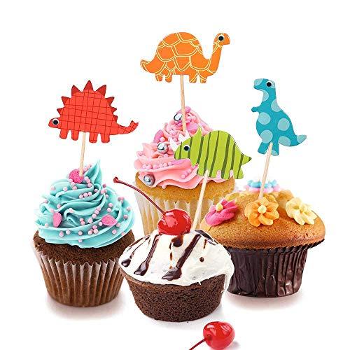 Bigbigjk 96 stücke Dinosaurier Cupcake Wrapper,Kuchendeckel Dinosaurier,Muffins Deko Cupcake Picks Kuchen Topper für Kuchen Dekoration Geburtstag Deko Kinder Party Hochzeit