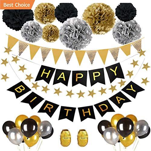 ZYDTrip Geburtstagsfeier-Deko-Set, Pomisty Happy Birthday Decoration 32 Teile mit 9 Seidenpapier Pom Poms + 18 Ballons mit großen Luftballons + 1 Happy Birthday-Banner für alle Männer und Frauen (Happy 18 Birthday)