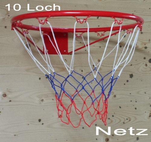 Basketballkorb Basketball Korb NETZ Ersatznetz Ballnetz 10 Loch, weiß blau rot (LHS)