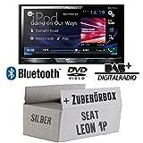 Seat Leon 1P 2DIN silber - Pioneer AVH-X5800DAB - 2DIN Multimedia Autoradio inkl. DAB Antenne - Einbauset