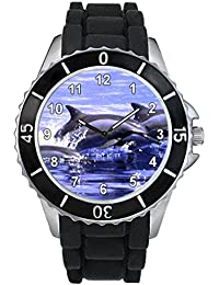 Delfín Unisex Reloj para hombre y mujer con correa de silicona negro