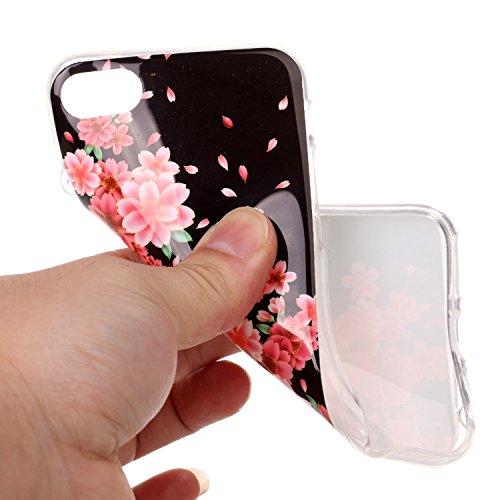 iPhone 7 Hülle,iPhone 7 Case, Cozy Hut Kreativ Design 3D Transparent TPU Hard Case Hülle Diamond Sequins Hülle Tasche Handyhülle Glitter Glitzer Sparkle Hart Plastik HardCase Crystal Clear Rückseite H Pfingstrose