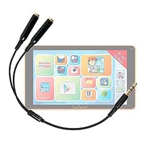 Adaptateur double pour écouteurs stéréo Jack 3.5 mm pour Lexibook Tablet Fluo XL (MFC191FR2) tablette enfant / ado écran HD 9 pouces - DURAGADGET
