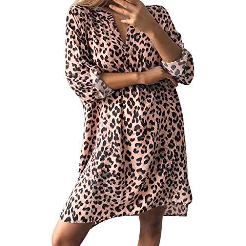 Oksea Damen Partykleid Animal-Print Dress Leoparden Kleid Damen Kleider V Ausschnitt Sommerkleid Leopard Rüschen Freizeitkleid Kurzarm Mini Strandkleid -