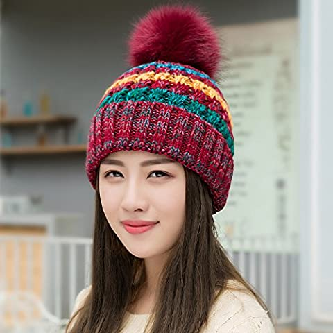 YangR*Invierno niños Caps tide elegante color hechizos tejer, tejer sombrero de lana gruesa de invierno cálido invierno encantador hat , Sra. vino rojo