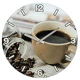 Hama Wanduhr Kaffee aus Glas (geräuscharm, leises Ticken)