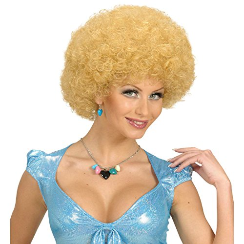 70er Engel Perücke (Amakando Blonde Lockenperücke Afro Perücke Afroperücke Disco Unisex Faschingsperücke Locken Karnevalsperücke Engel Mottoparty Haare 70er Jahre)