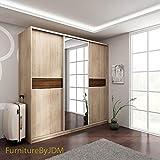 Marke Neues, modernes, 3Tür Kleiderschrank verspiegelt Schiebetüren W: 220cm H: 216cm D: 65cm PUERTO - Sonoma Oak 220cm Mirrored