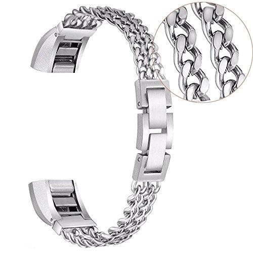 Preisvergleich Produktbild Sansee Edelstahl Ersatz Uhrenarmband für Fitbit Alta HR / Fitbit Alta Smart Uhr, Armband (Fitbit Alta/HR-7709 Länge: 155mm (S), Silber)