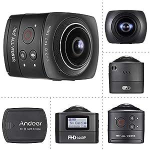 Andoer 360 degrés Panorama VR caméra vidéo IP Fish-Eye objectif 220° angle Full HD 1080p 1440 P 30FPS 8MP Sports Action caméra dôme Wifi Gyroscope réalité virtuelle système Split-screen Up-down Flip