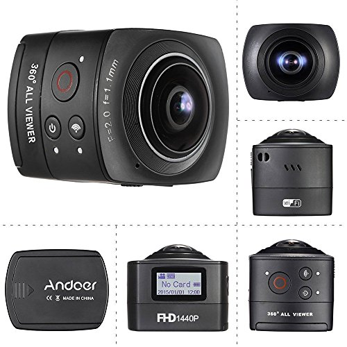 Andoer® Panorama 360 ° VR Wifi Full HD 1440P 1080P 30FPS 8MP IP Cam 220 ° Fisheye Obiettivo della Cupola del Giroscopio Realtà Virtuale Split System a Schermo Up-down Flip display