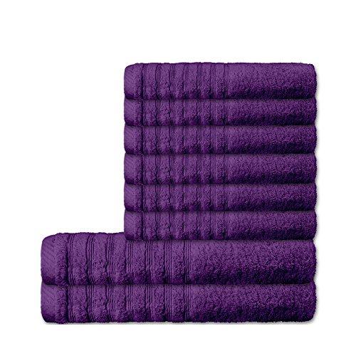 8 tlg. flauschiges Handtuch-Set 16 moderne Farben und viele Größen 100% gekämmte Baumwolle Frottee Qualität ca. 570g/qm 8-teilig 6x Handtuch 50 x 100 cm 2x Duschtuch 70 x 140 cm Serie Pisa CelinaTex 0003517 lila - Moderne Handtuch-set