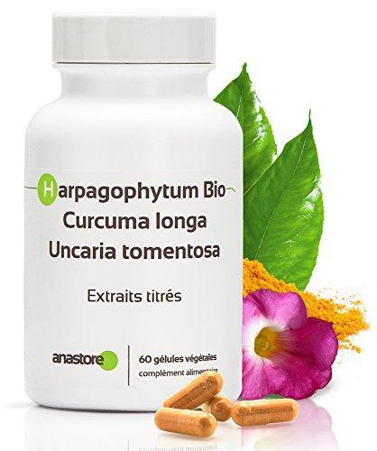 Douleurs articulaires * Harpagophytum, Curcuma, Uncaria Tomentosa * 310 mg / 60 gélules * Aide à lutter contre l'arthrite et les douleurs lombaires * Anti-inflammatoire NATUREL * Fabriqué en FRANCE