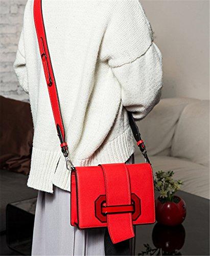 Xinmaoyuan Handtaschen der Frauen Weibliche Tasche lange Pumpen mit Leder kleine Quadrat Schulter diagonales Kreuz schlagen Farbe Handtaschen aus Leder Rot