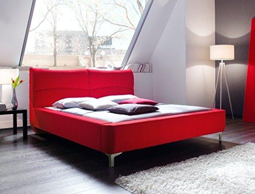 Polsterbett Cloude Bett 180x200 cm Stoffbezug rot Doppelbett Ehebett Designerbett Schlafzimmer