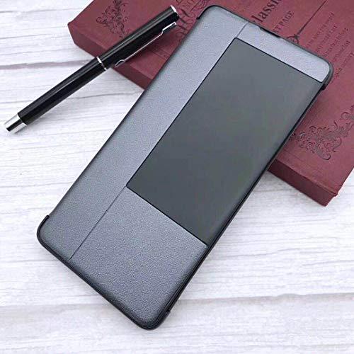 Huawei Mate 20 X Hülle,intelligentes-Handyhülle,intelligentes Flip-Free Anruf annehmen,Mit Sleep/Wake-Funktion intelligentes-Flip-Hülle Geeignet für Huawei Mate 20 X(Tief grau)