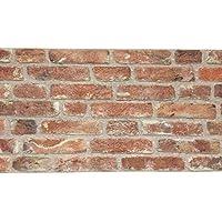 Revestimiento de paredes | Imitación de ladrillo / piedra natural para cocina • dormitorio • salón | Paneles decorativos mediterráneos | 120x50x2cm | Rojo Claro