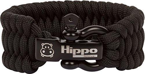Hippo Survival Paracord Armband mit Schwarz Metall Bügel und verstellbare Größe