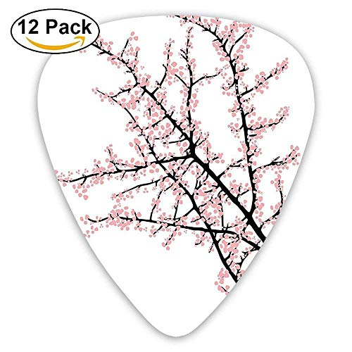 Cherry Branch With Pink Blossom Traditional Style Illustration Asia Culture Themed Guitar Picks 12/Pack Basso Blossom