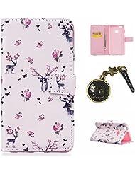 PU Carcasa de silicona teléfono móvil Painted PC Case Cover Carcasa Funda De Piel Caso de Shell cubierta para (Huawei P9Lite) + Polvo Conector Blanco 20