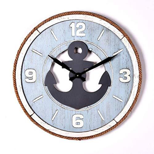 Antiken Hölzernen Bar (GYGUYHIHY Hölzerne Wanduhr, Mediterrane Runde Glockenspiel-Wanduhr, Stummschaltung, Antike Dekorative Uhr, Kaffee-Bar-Uhr-59,5 cm)