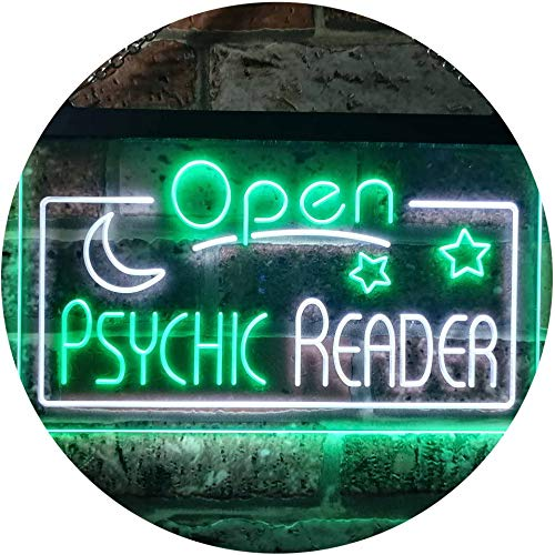 ADV PRO Psychic Reader Open Moon Star Room Décor Dual Color LED Barlicht Neonlicht Lichtwerbung Neon Sign Weiß & Grün 600 x 400mm st6s64-i3204-wg