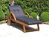 GRASEKAMP Qualität seit 1972 Gartenliege mit Kissen Anthrazit Holz Liege Sonnenliege Relaxliege