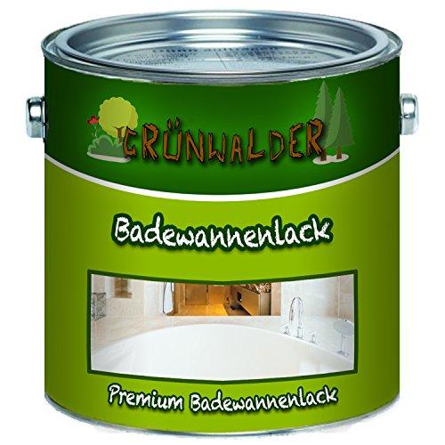 duschwanne lackieren Grünwalder Badewannenlack Badezimmerfarbe Badewannenbeschichtung 2K Speziallack SET Decklack + Grundierung Weiss Grau Beige Schwarz (2,5 kg, Weiß)
