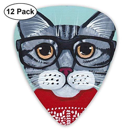 Novelty Awesome Daze Wear Glasses Oil Painting Cat Guitar Picks - 12 pack -
