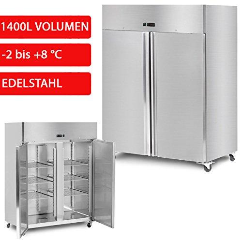 GOO Gastro Kühlschrank 1400L 1,48x0,85m - 2x Türen GN 21 Temperatur (-2 bis 8C) - Gewerbe Kühlschrank - Edelstahl Kühlschrank