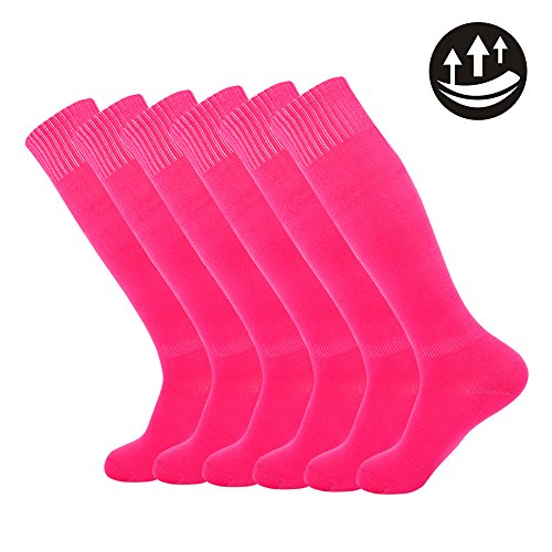 Knee High Athletic Football Socks,Unisex Solid Long Fashion Soccer Team Socks 2-12 Pairs (Schuhe Fan-womens)