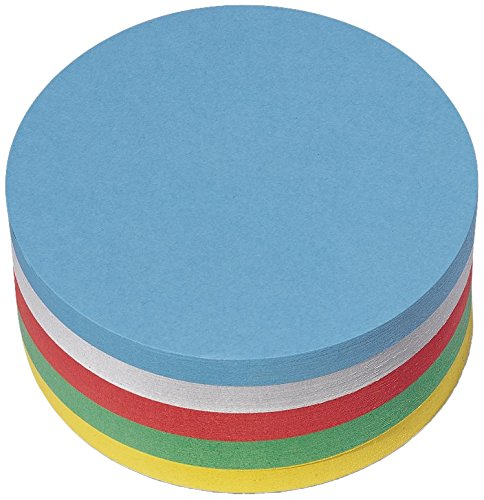 Nobo 1901299 Moderationskarte Kreis, sortiert, 9.5 cm, 250 Stück, weiss/gelb/rot/grün/blau